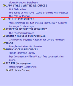 APA style and writing resources